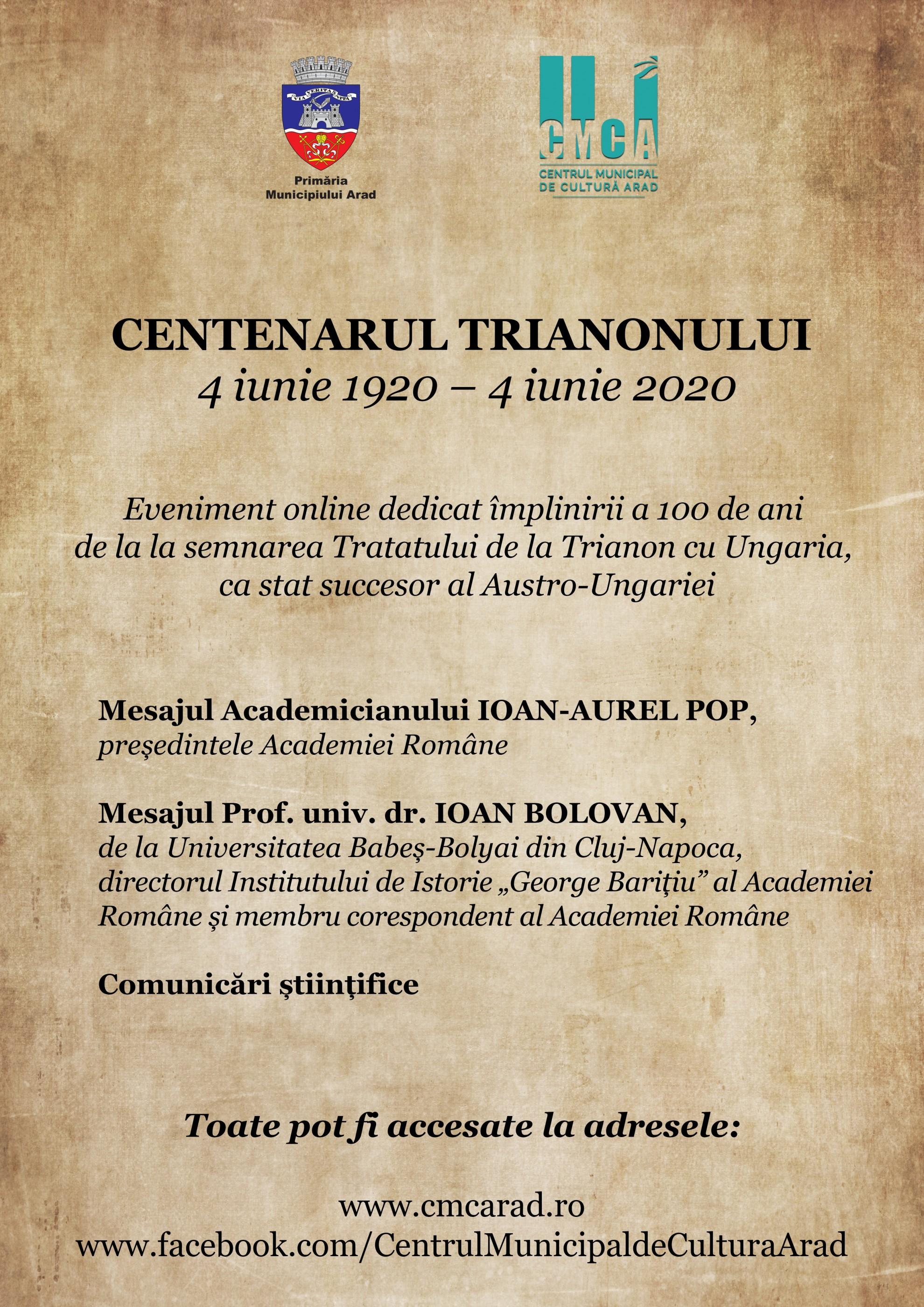 CENTENARUL TRIANONULUI (4 iunie 1920 – 4 iunie 2020) EVENIMENT ONLINE