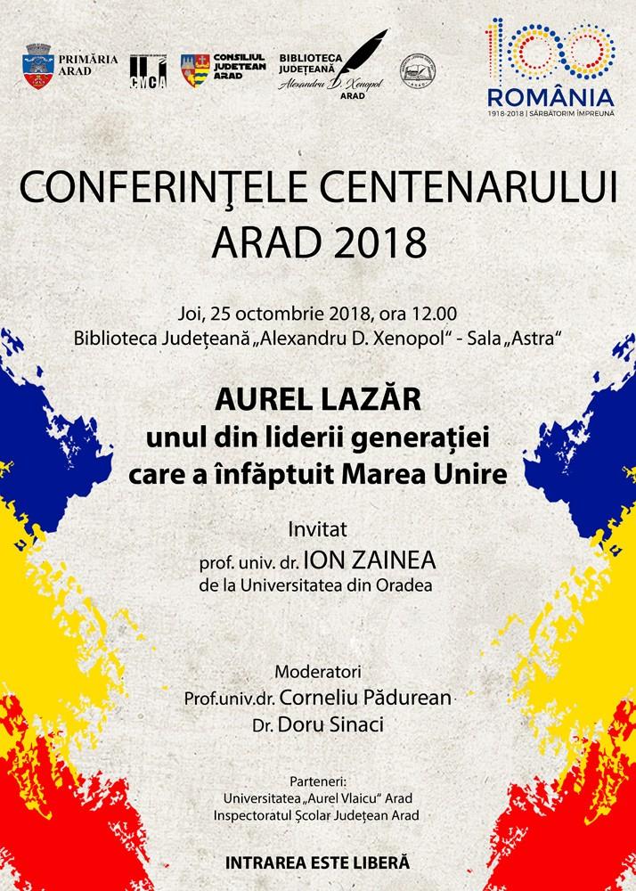 Conferințele Centenarului VI. Invitat - prof.univ.dr. ION ZAINEA