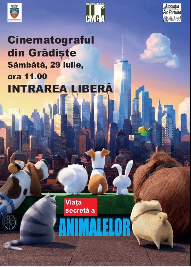 The Secret Life of Pets (Viața secretă a animalelor) este filmul de animație care va rula la cinematograful Grădiște sâmbătă 29 iulie, de la ora 11