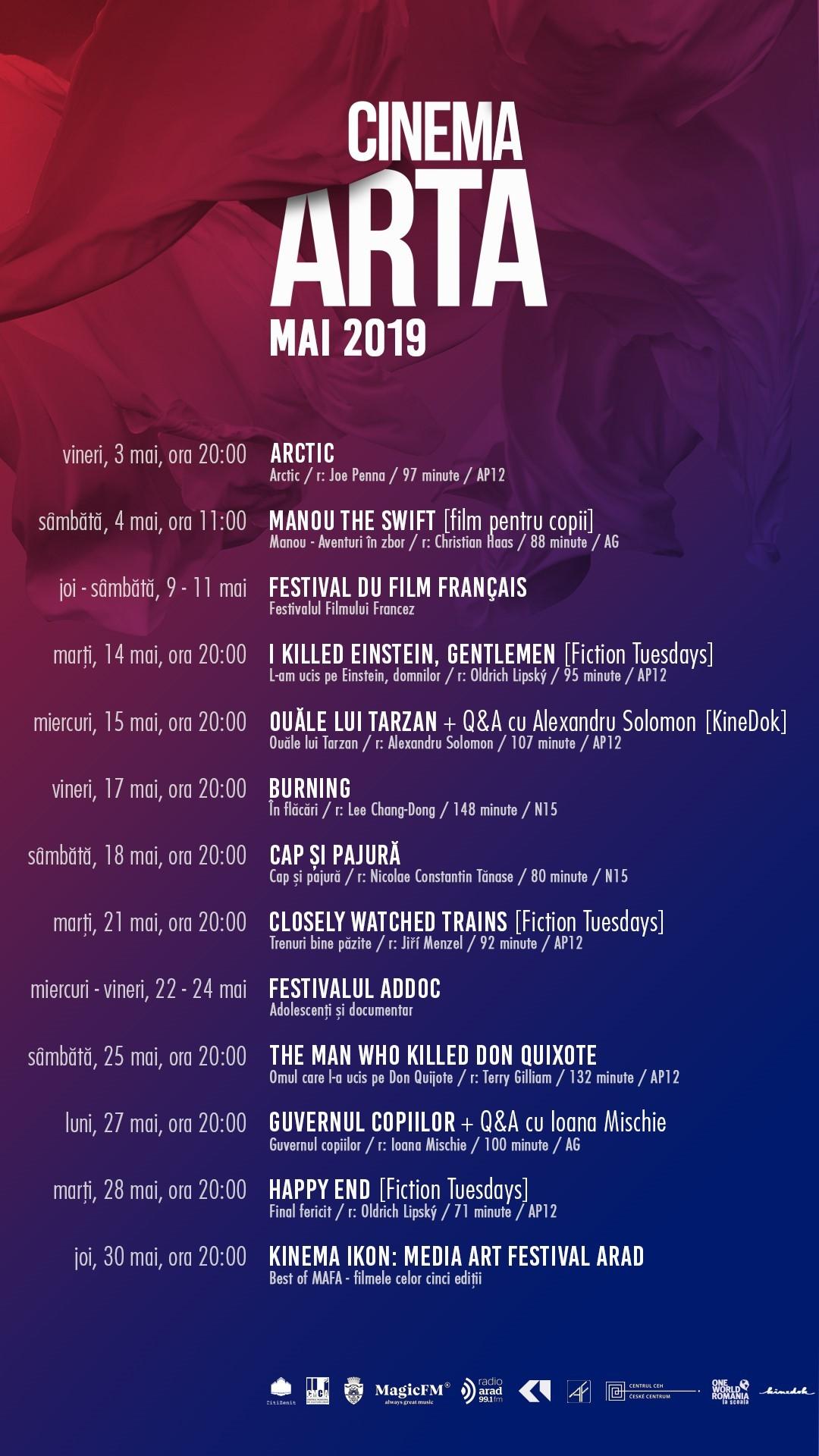 Peste 20 de filme și două festivaluri sunt programate în luna mai la cinema Arta