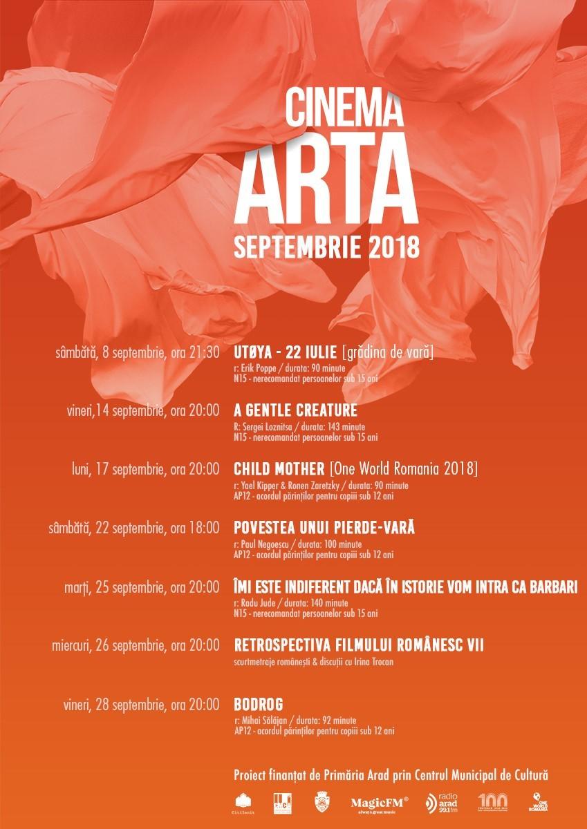Premiere europene şi româneşti și discuţii cu invitaţi speciali în luna septembrie la Cinema Arta