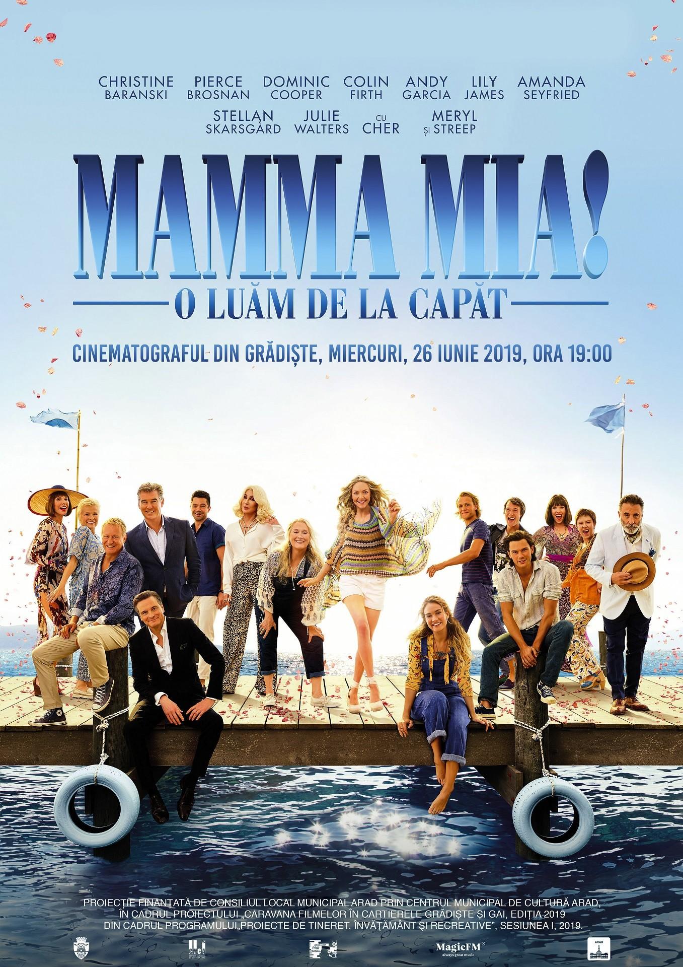 """""""Filme de vacanță"""", la Cinematograful din Grădiște. Comedia """"Mamma Mia. O luăm de la capăt!"""", pe marele ecran"""
