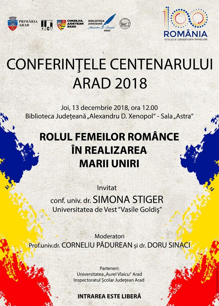 Conferințele Centenarului, la final. Invitată - conf.univ.dr. Simona Stiger
