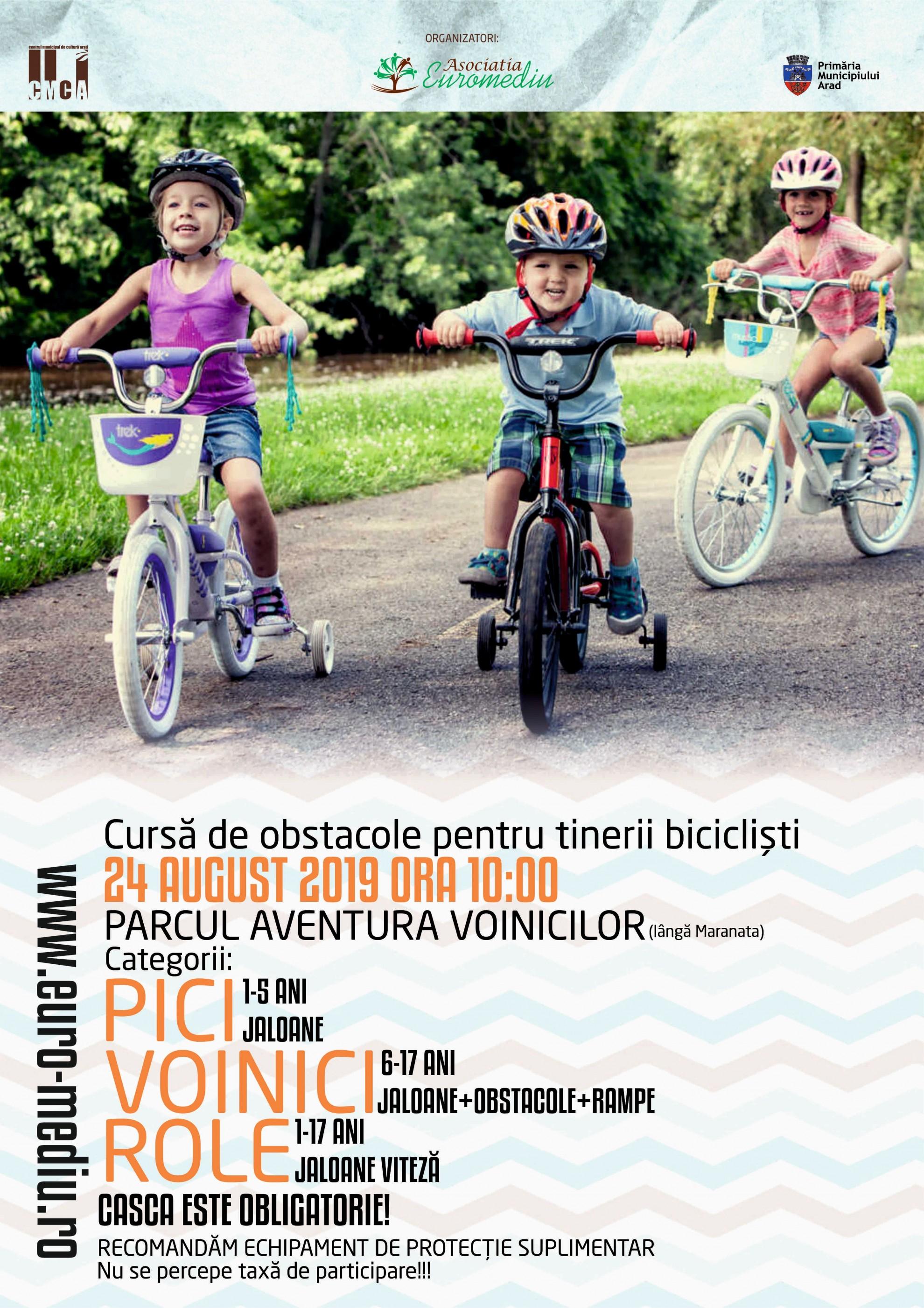 """Concursul """"Bicicliștii iscusiți"""", ediția a V-a, la Zilele Aradului"""