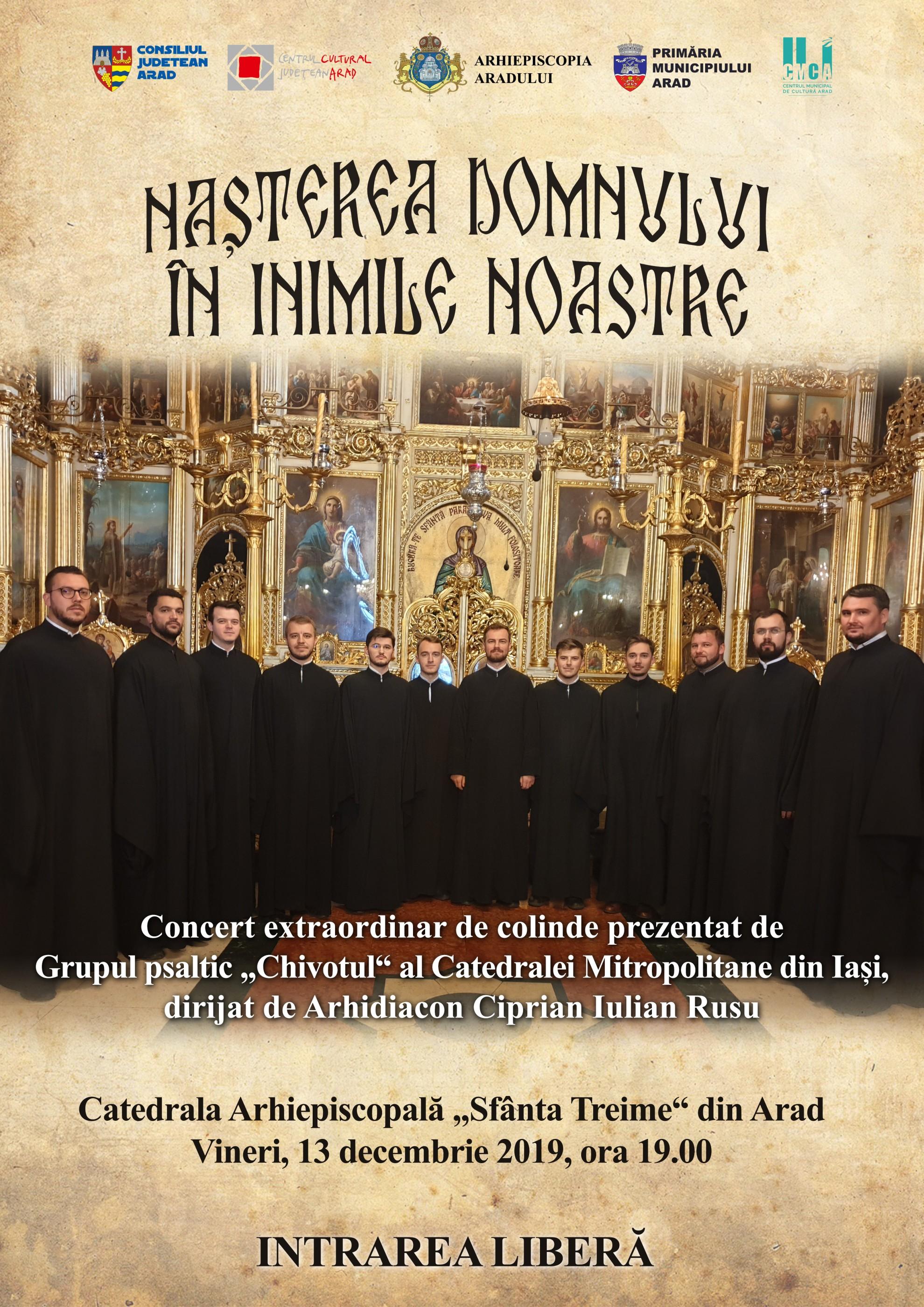 """""""Nașterea Domnului în inimile noastre"""" – concert de colinde la Catedrala Arhiepiscopală """"Sfânta Treime"""" din Arad"""