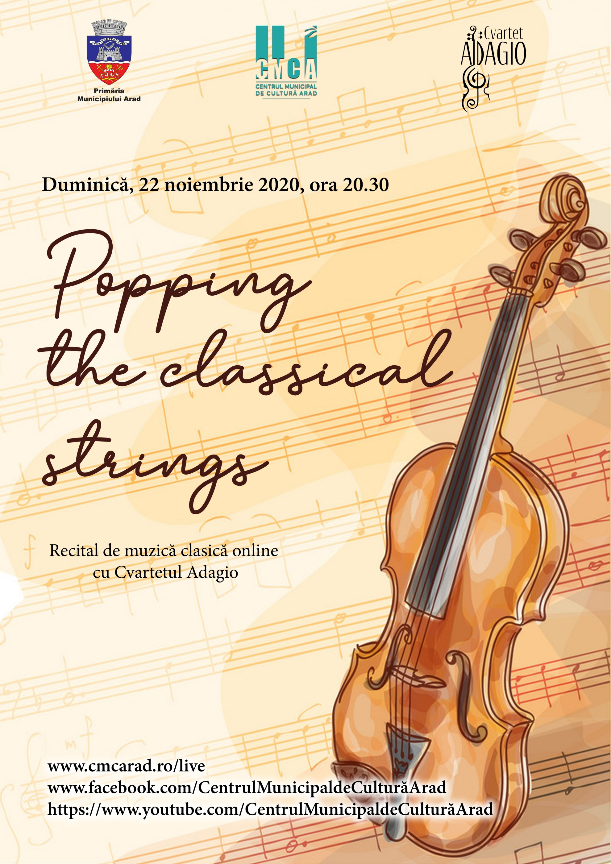 """Popping the classical strings"" - concert cameral online cu Cvartetul Adagio"