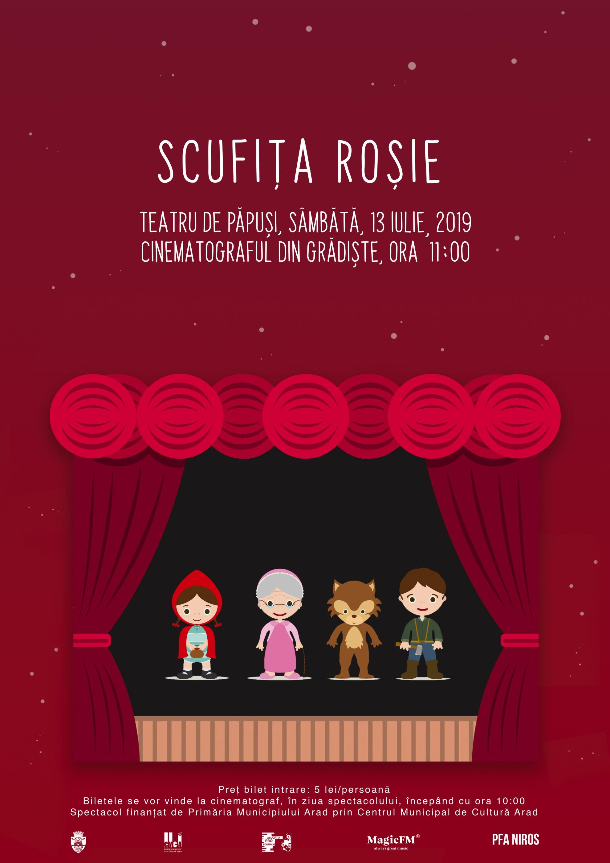 """""""Scufița Roșie"""" – o nouă piesă de teatru de păpuși, la Cinematograful din Grădiște"""