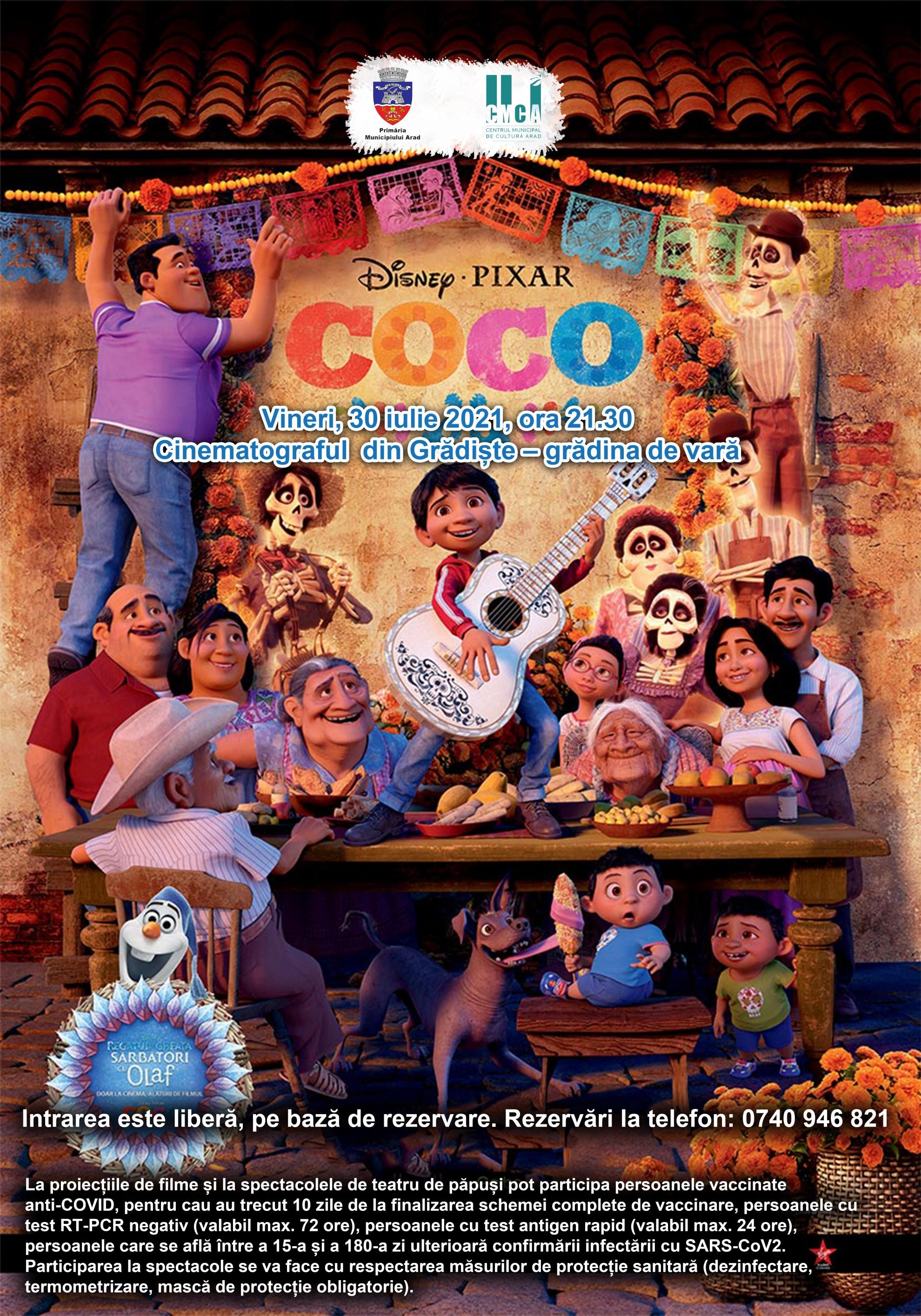"""Animația """"Coco"""", în grădina de vară de la cinematograful din Grădiște"""