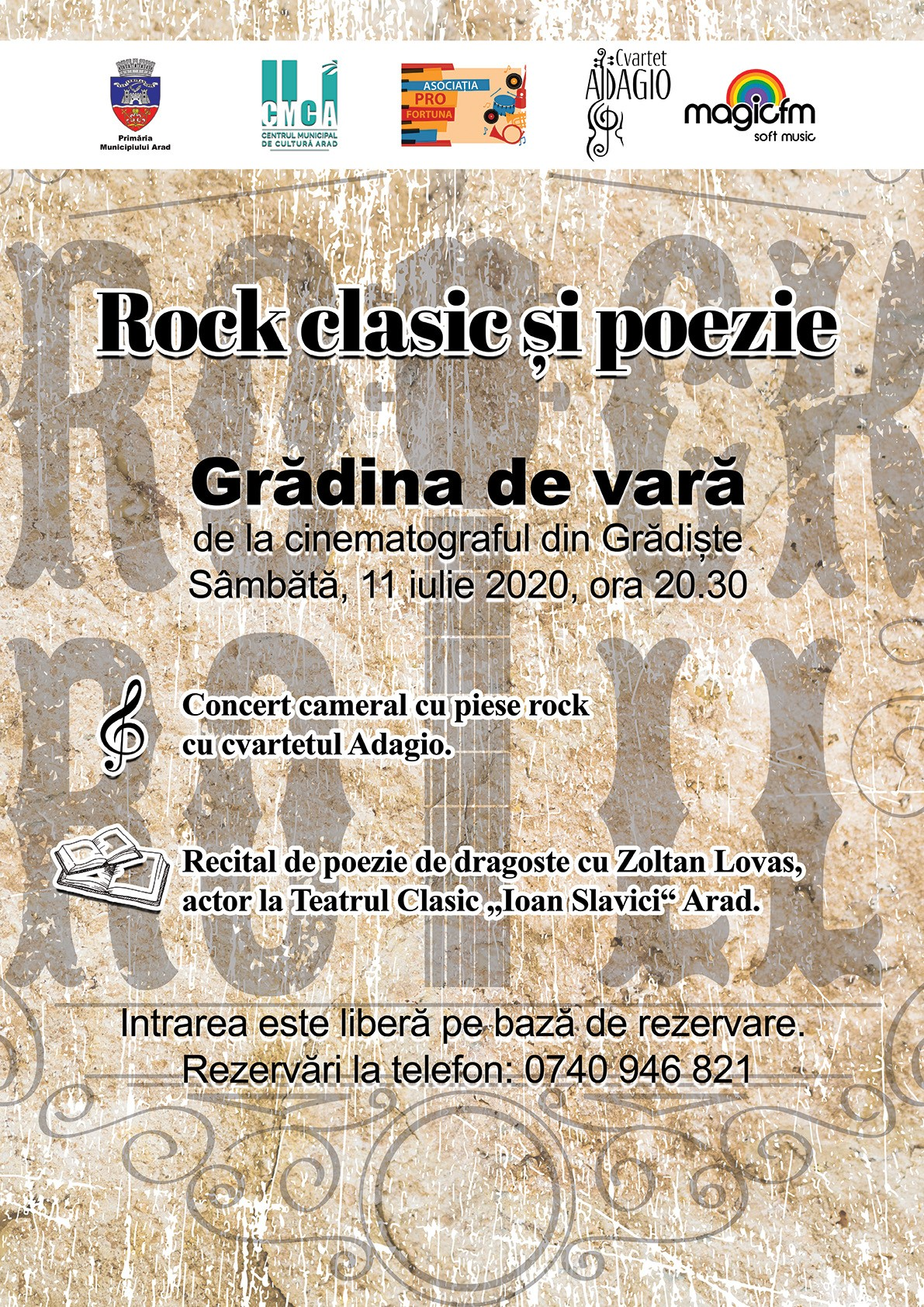 """""""Rock clasic și poezie""""  în grădina de vară de la cinematograful din Grădiște"""