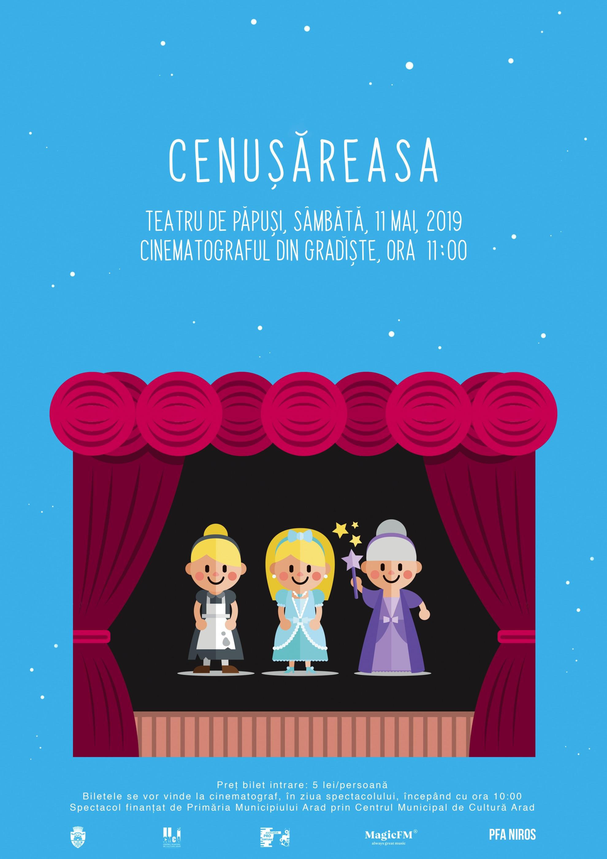 """Spectacolul de teatru de păpuși """"Cenușăreasa"""", la cinematograful din Grădiște"""