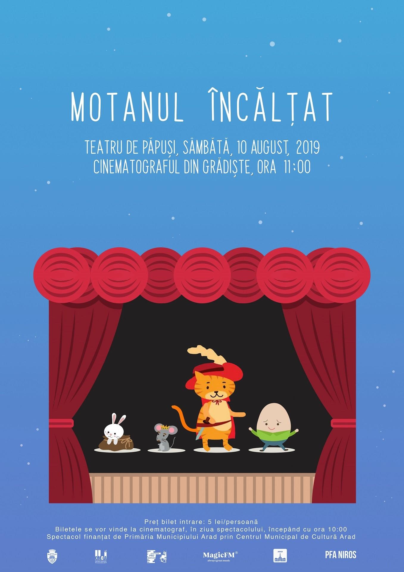 """""""Motanul încălțat"""" – o nouă piesă de teatru de păpuși, la Cinematograful din Grădiște"""
