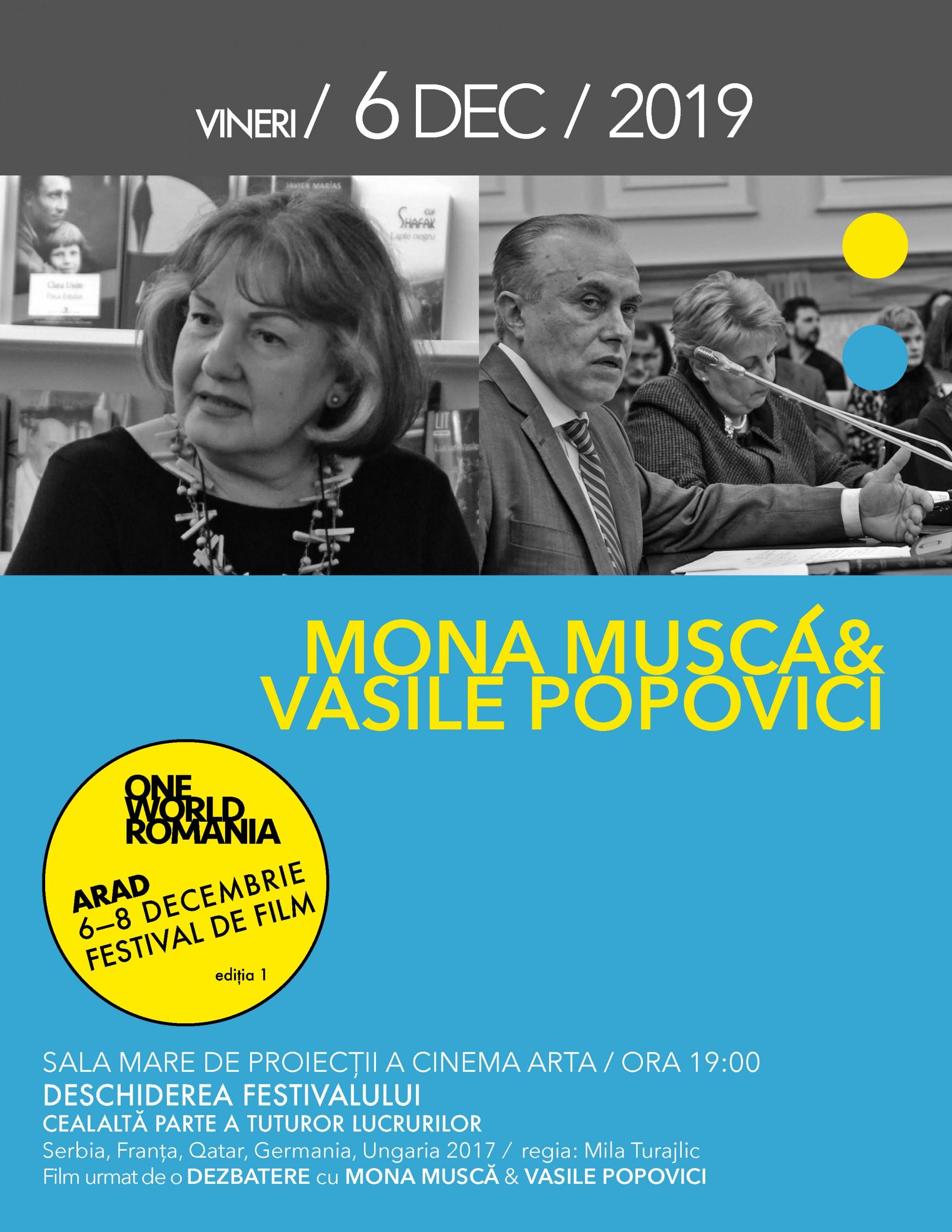 Mona Muscă, Vasile Popovici, Adriana Babeți și Ivana Mladenovic, printre invitații speciali ai primei ediții One World Romania la Arad