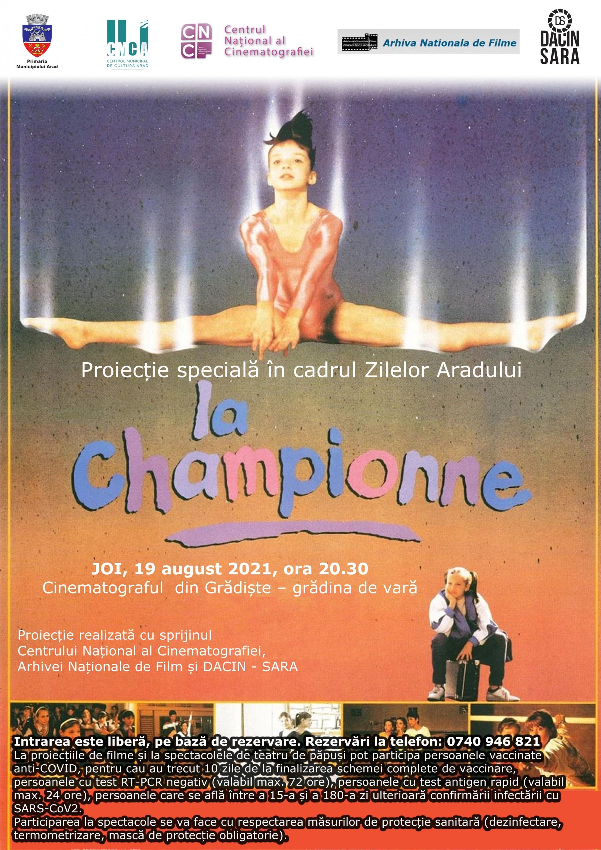 """Filmul """"Campioana"""" – proiecție specială cu ocazia Zilelor Aradului, în grădina de vară de la cinematograful din Grădiște"""
