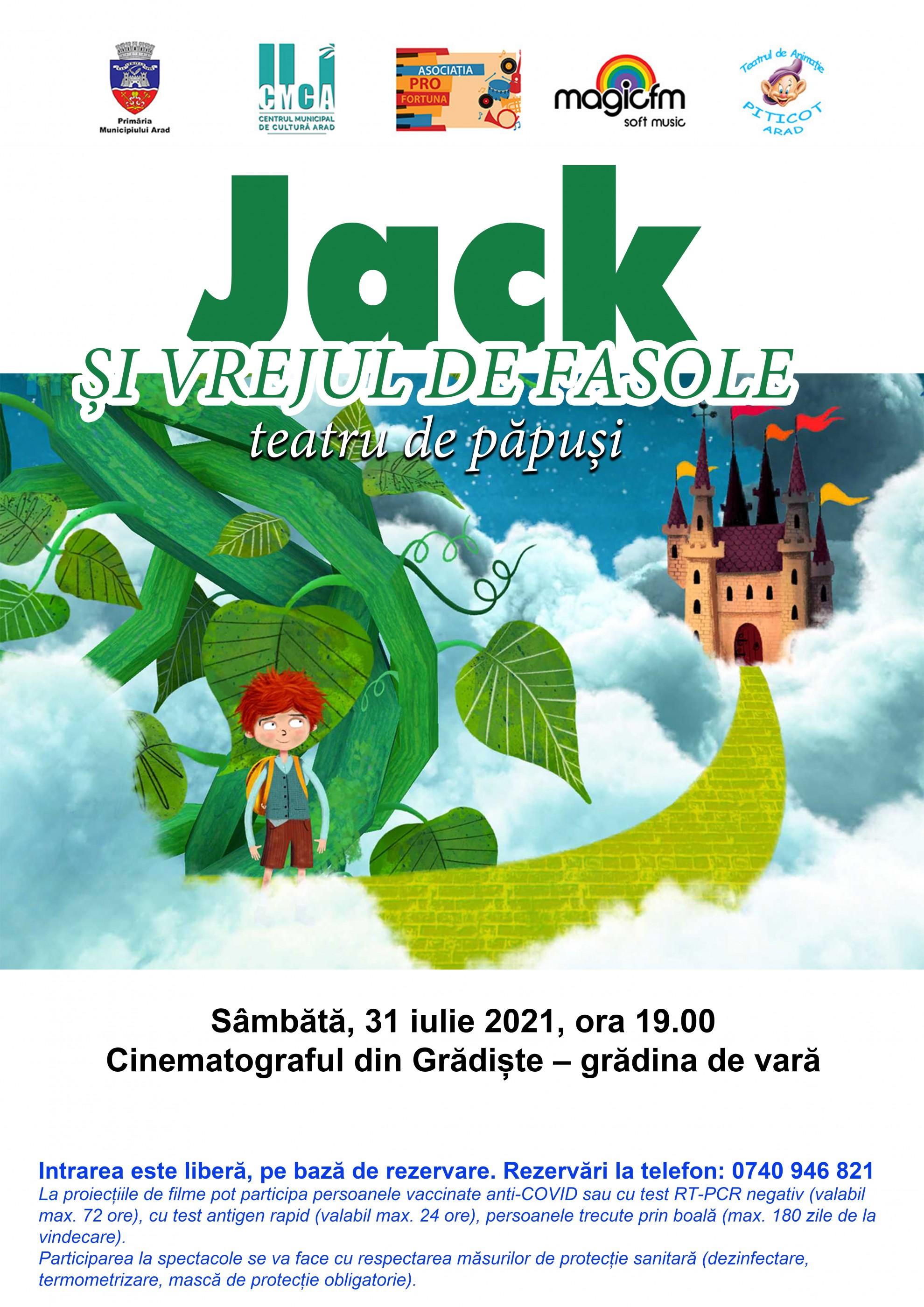 """Piesa de teatru de păpuși """"Jack și vrejul de fasole"""", în grădina de vară de la cinematograful din Grădiște"""