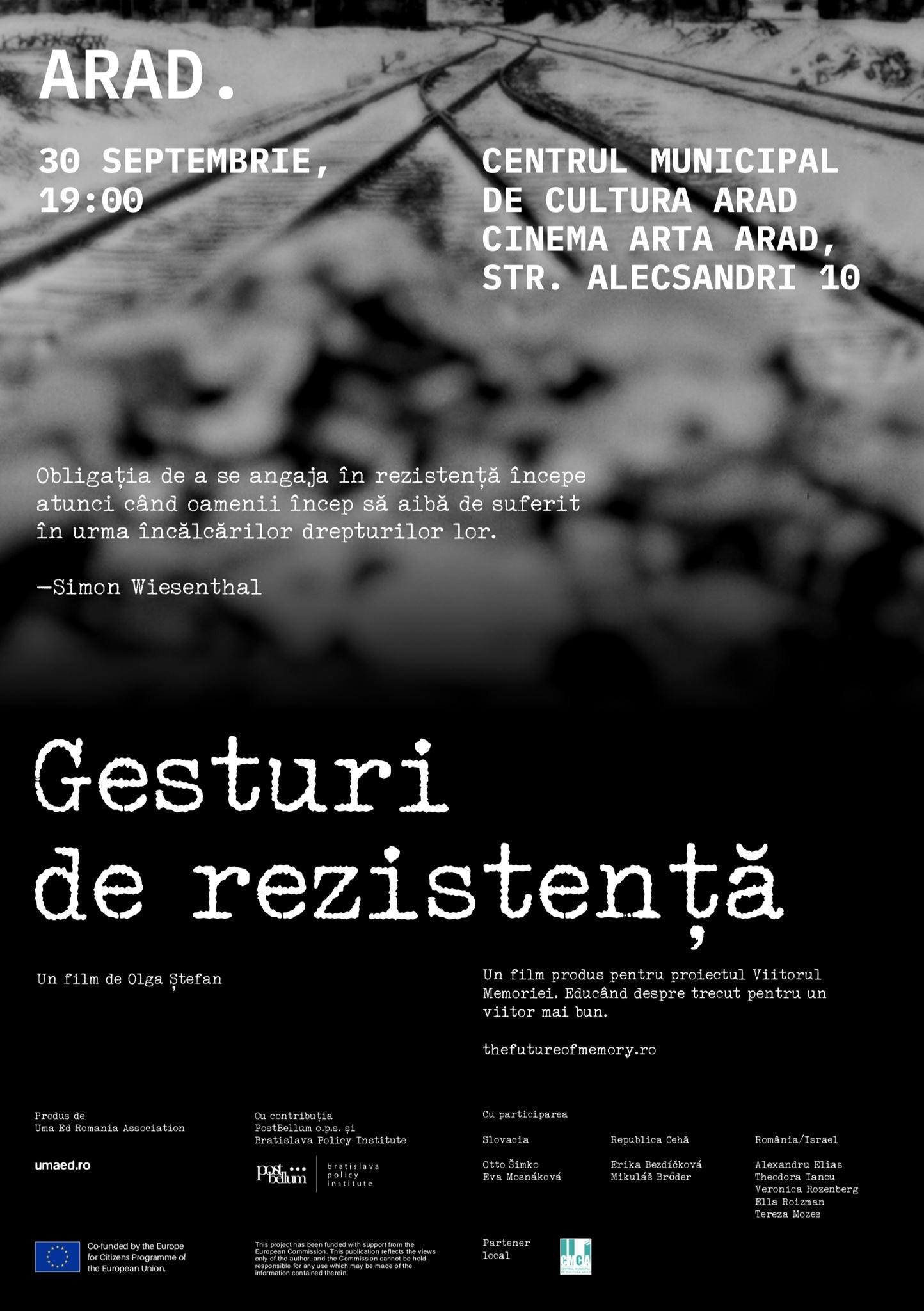"""""""GESTURIDEREZISTENȚĂ"""",FILMDOCUMENTARDESPREREZISTENȚAEVREIASCĂ ANTIFASCISTĂ DIN TIMPUL RĂZBOIULUI, ESTE ÎN TURNEU ÎN ROMÂNIA:"""