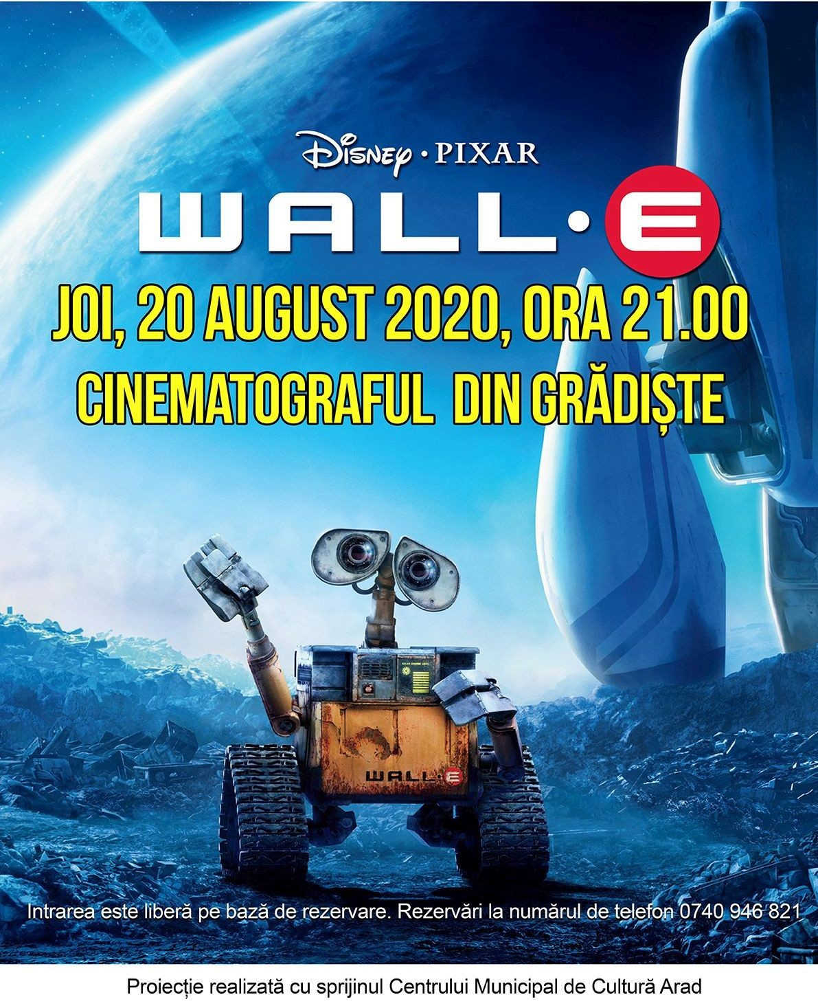 "Animația science fiction ""Wall-E"", în grădina de vară de la cinematograful din Grădiște"
