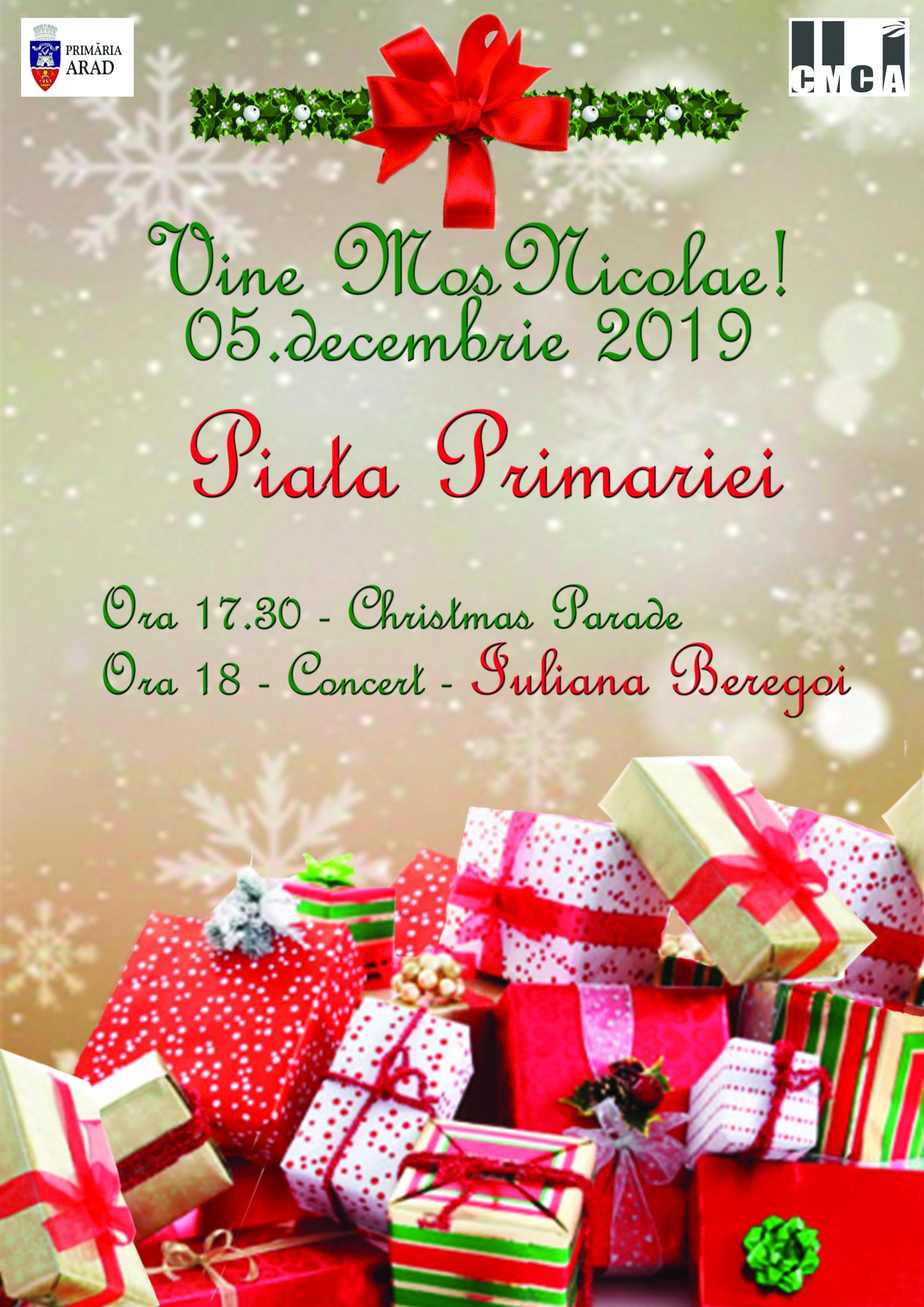 Festivitatea de aprindere a luminițelor în bradul de Crăciun. Vin Iuliana Beregoi, Christmas Parade și Moș Nicolae