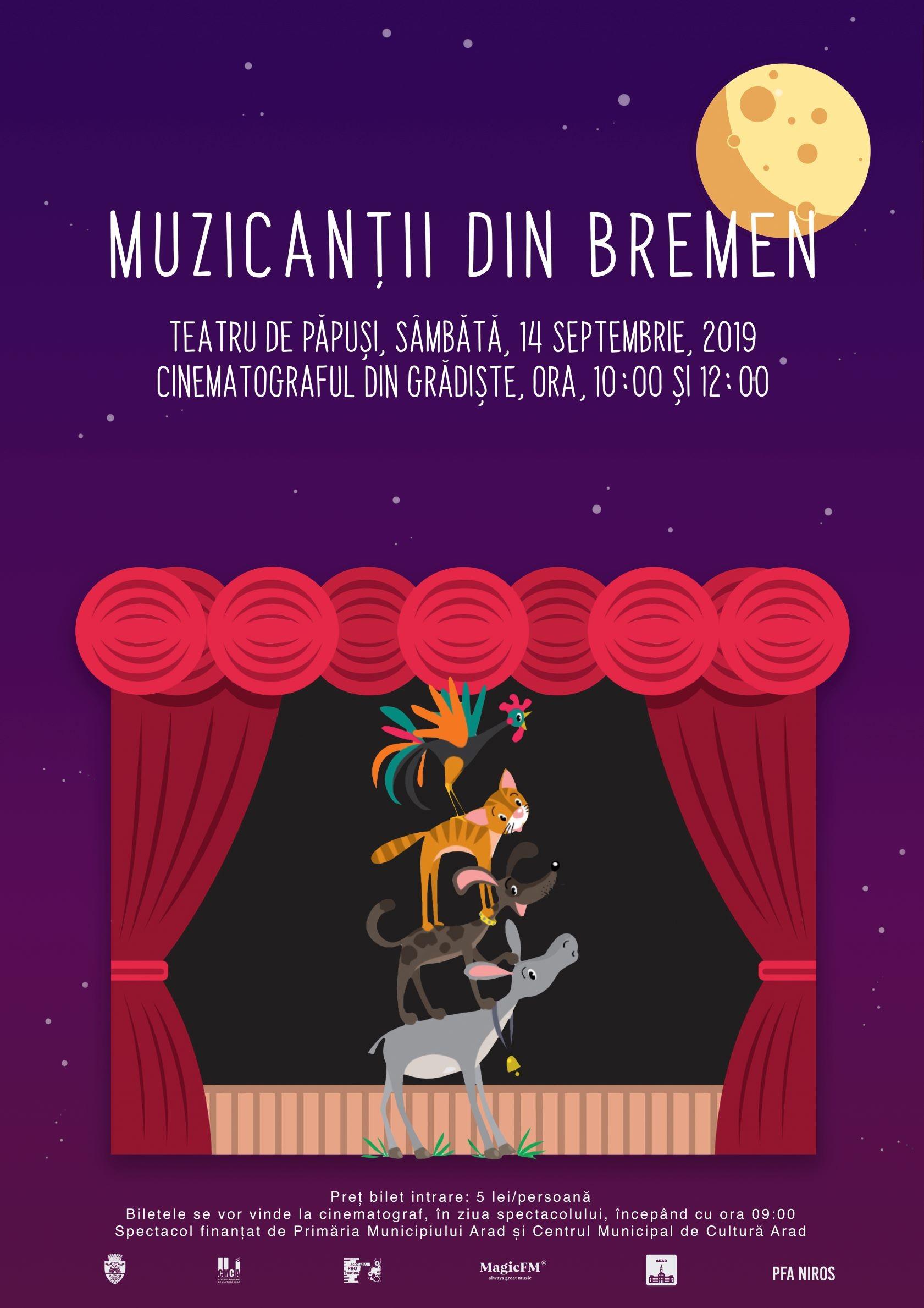 """Piesa de teatru de păpuși """"Muzicanții din Bremen"""", la Cinematograful din Grădiște"""