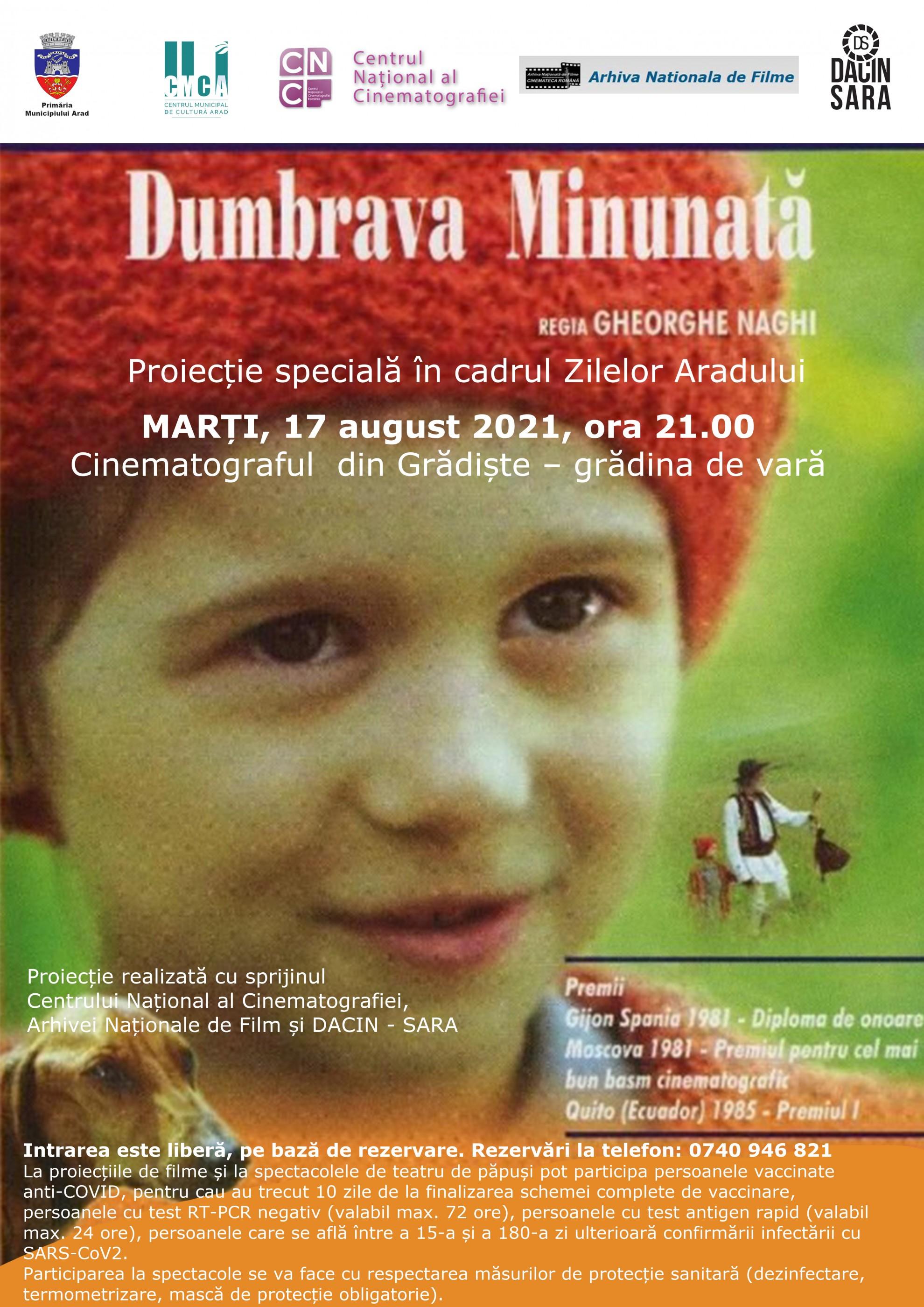 """Proiecții de filme pentru copii speciale cu ocazia Zilelor Aradului.  """"Dumbrava minunată"""", în grădina de vară de la cinematograful din Grădiște"""