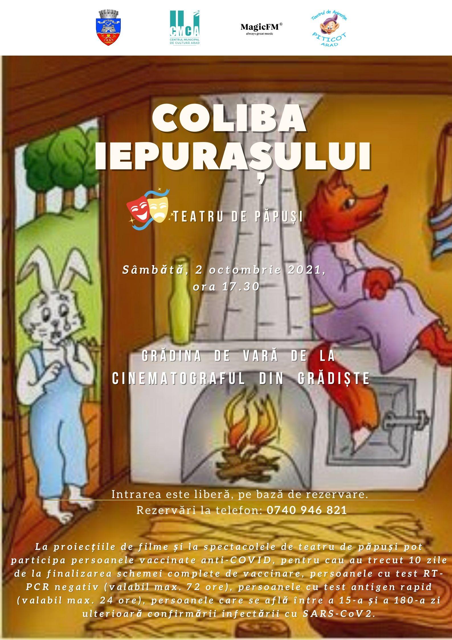 """Piesa de teatru de păpuși """"Coliba iepurașului"""", în grădina de vară de la Cinematograful din Grădiște"""