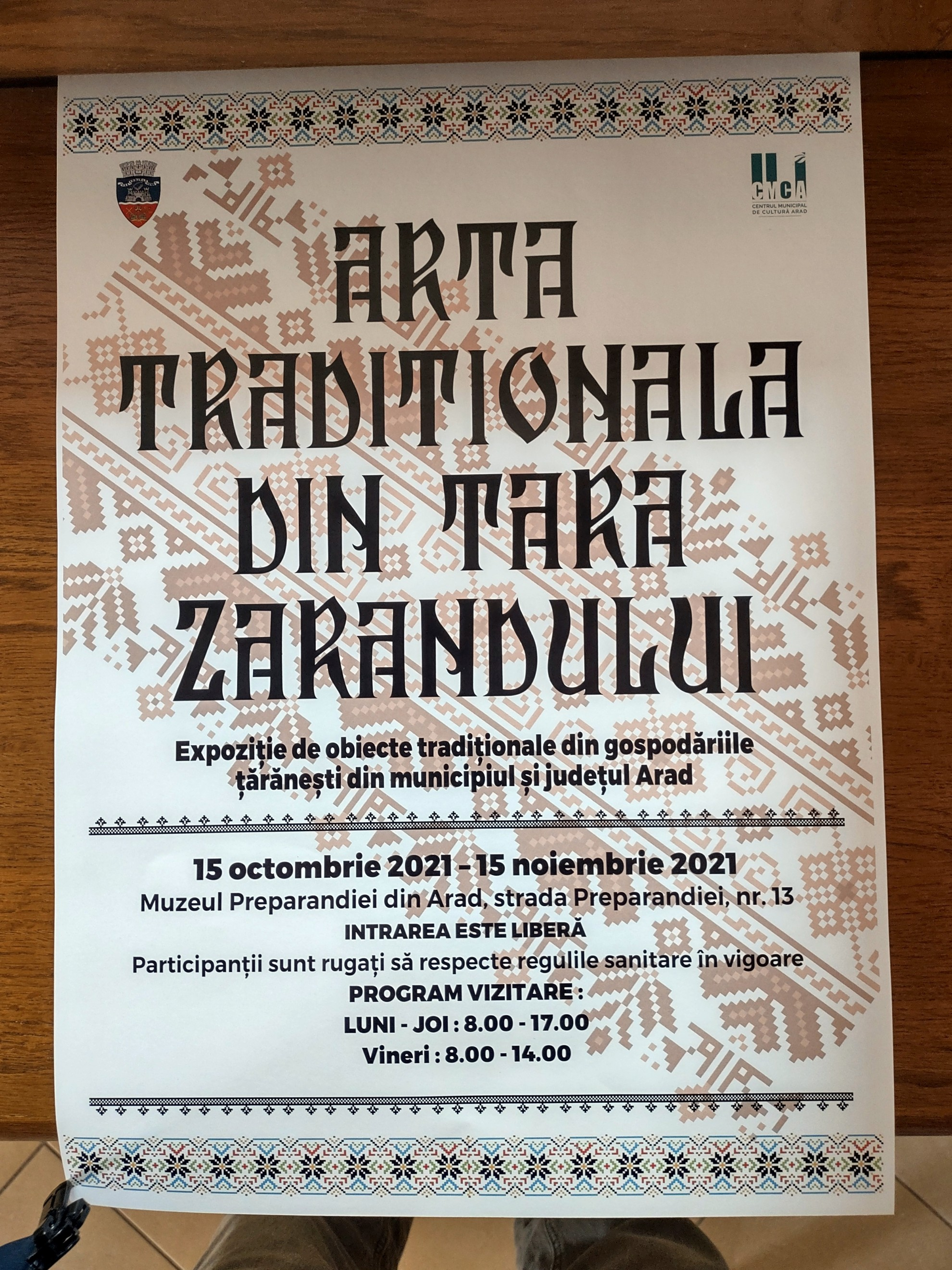 """Expoziția """"Artă tradițională din Țara Zărandului"""", la Muzeul Preparandiei din Arad"""