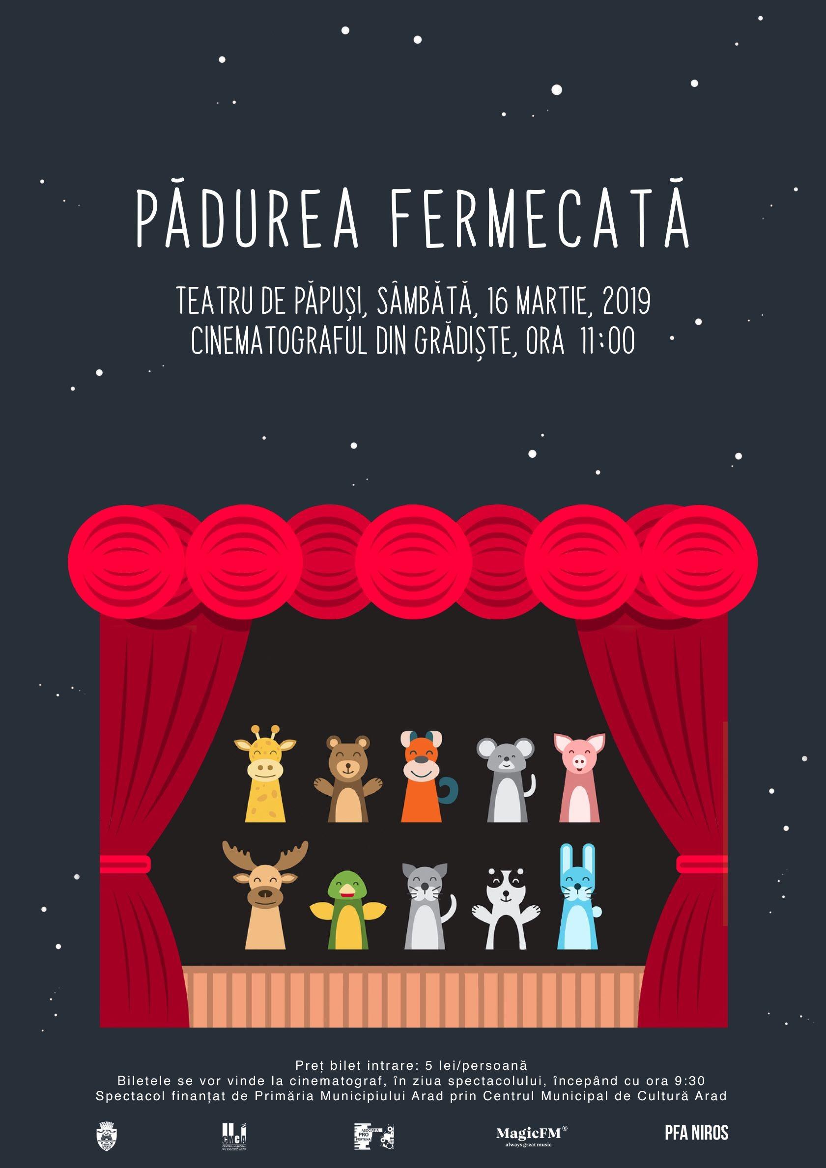 Pădurea fermecată – spectacol de teatru de păpuși, la cinematograful din Grădiște
