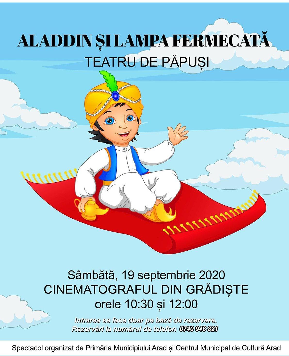 """Piesa de teatru de păpuși """"Aladdin și lampa fermecată"""", în grădina de vară de la cinematograful din Grădiște"""