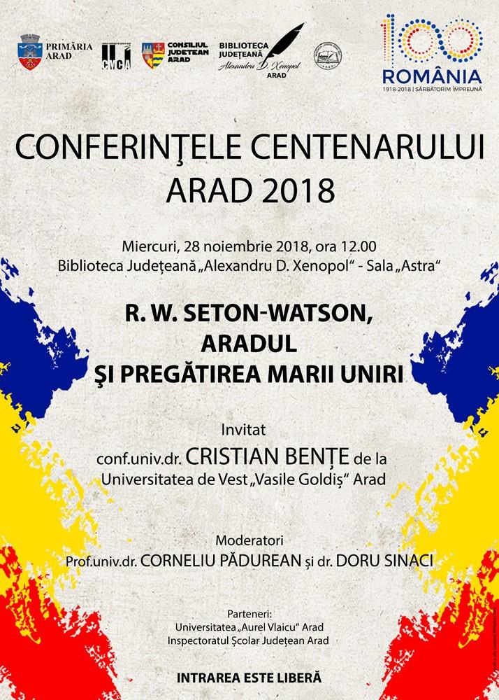 Conferințele Centenarului, ediția a VIII-a. Invitat, conf.univ.dr. Cristian Bențe