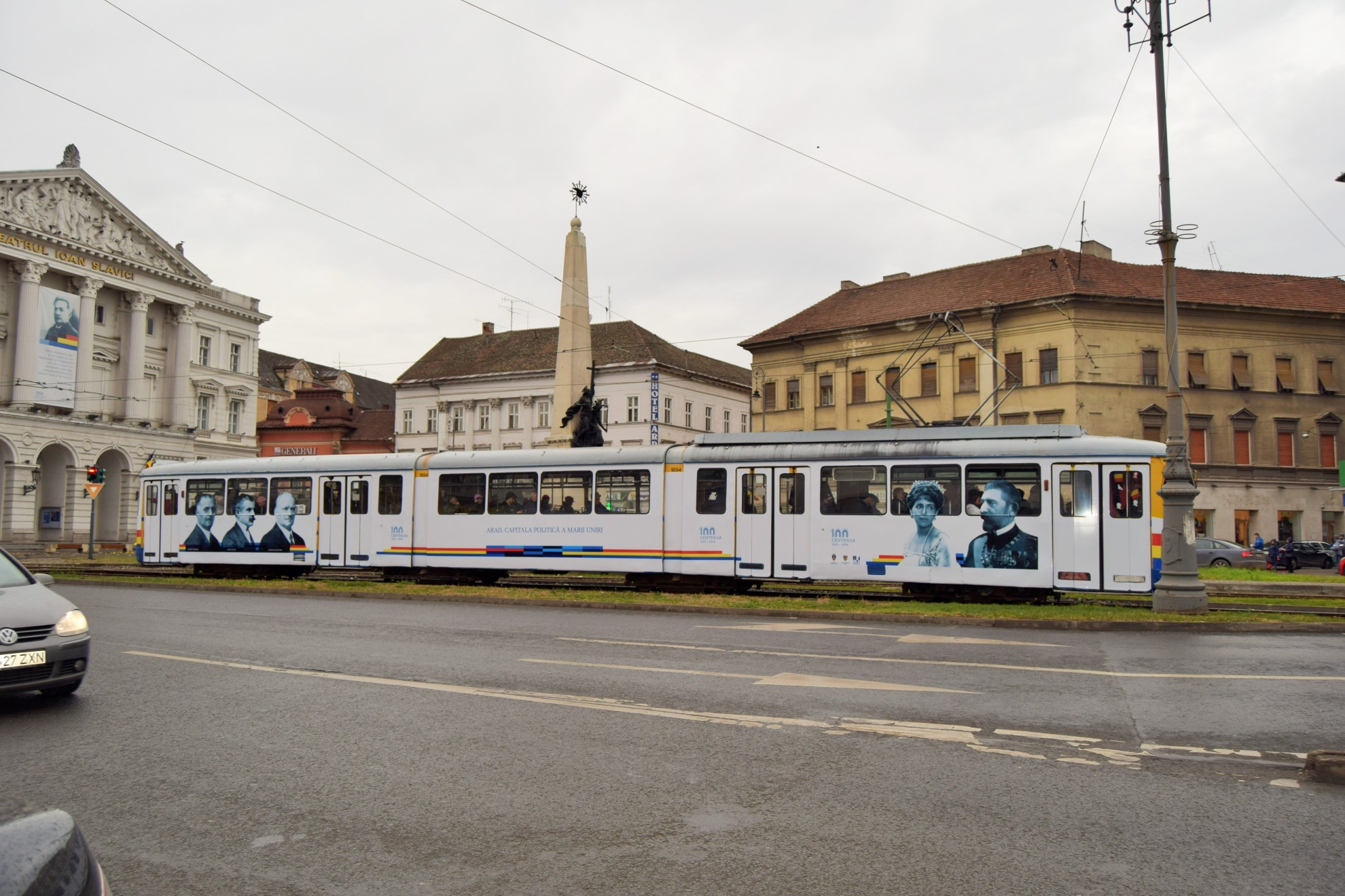 The first dedicated tram Centenary Grand Union in movement, in the city of Arad