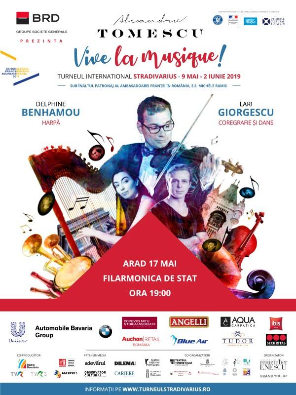 """Turneul Stradivarius 2019 """"VIVE LA MUSIQUE!"""" ajunge la Arad în 17 mai"""