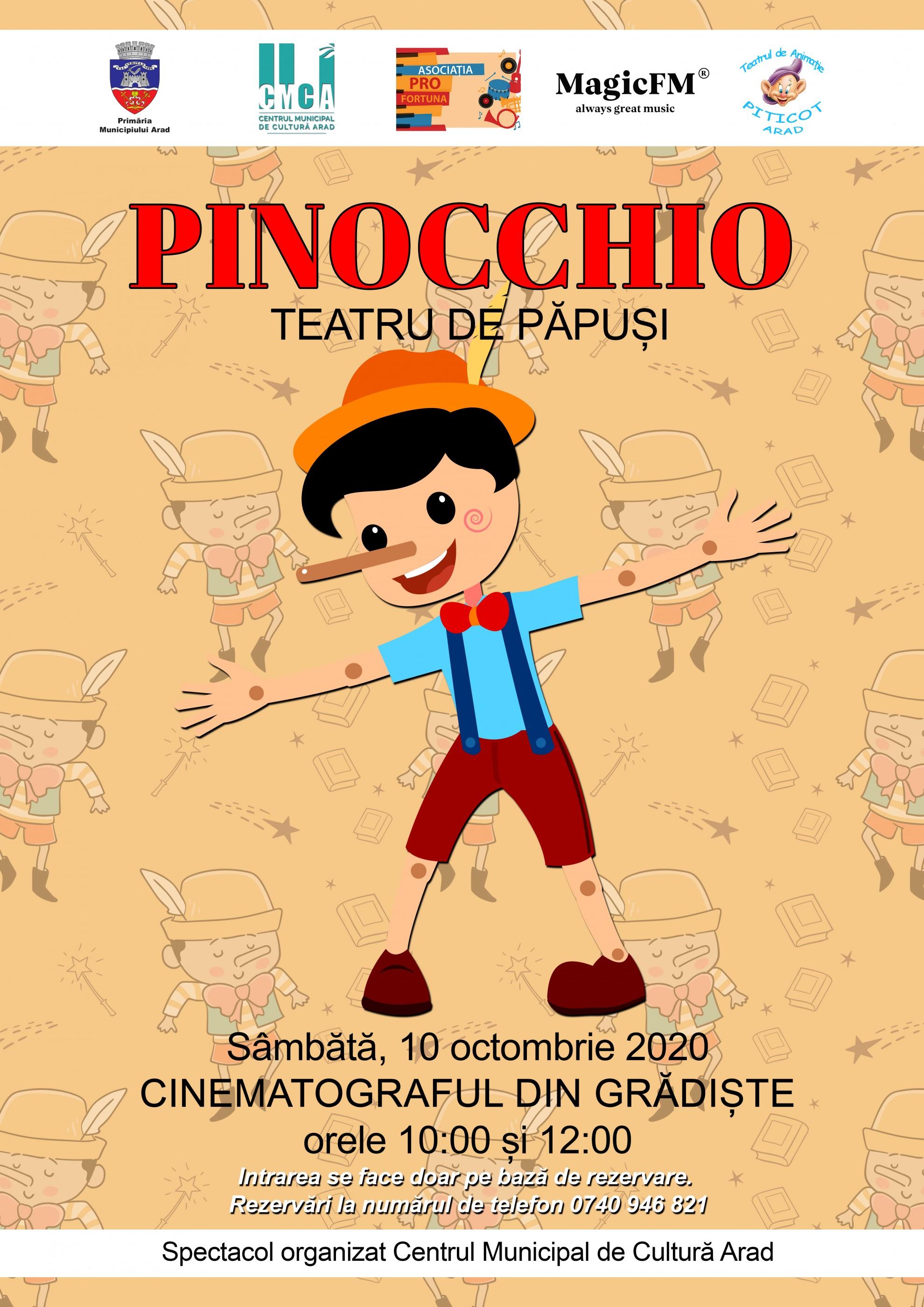 """Piesa de teatru de păpuși """"Pinocchio"""", la cinematograful din Grădiște"""