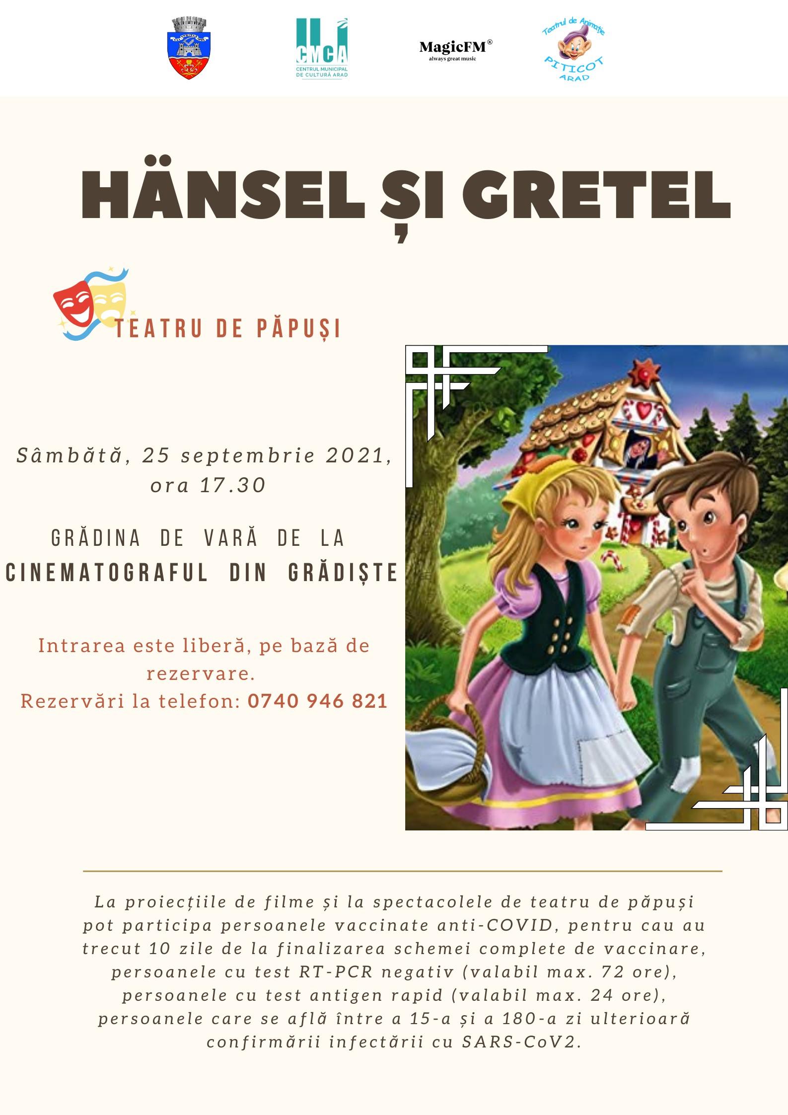 """Piesa de teatru de păpuși """"Hänsel şi Gretel"""", în grădina de vară de la Cinematograful din Grădiște"""