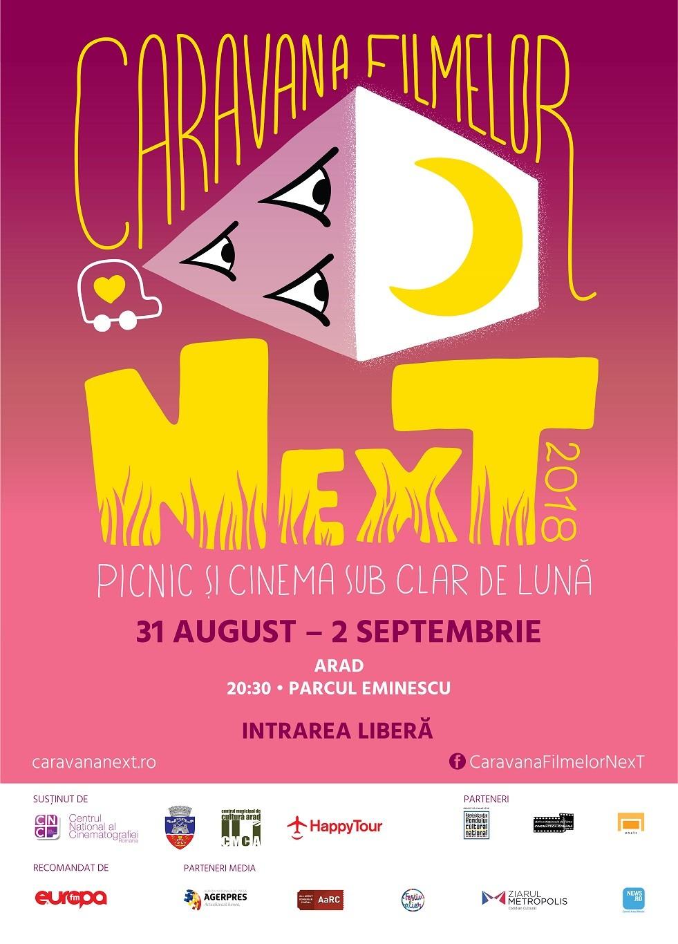 Caravana Filmelor NexT revine la Arad, în Parcul Eminescu - 3 seri de picnic și scurtmetraje, sub clar de lună